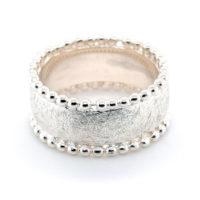 Ring Silber eisgekratzt Kügelchen