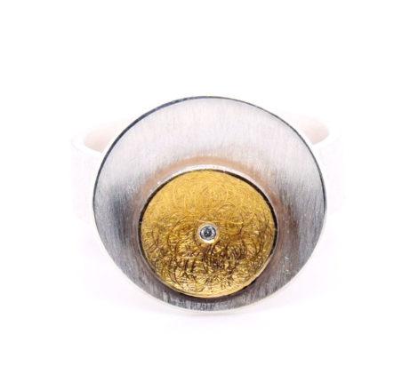 Ring Silber mit 900er Feingold und Brillant