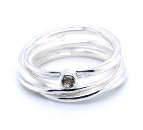 Wickelring Silber weißer Topas