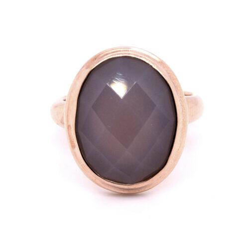 Ring rosévergoldet mit grauem Chalcedon
