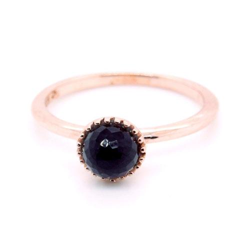 Ring Silber rosévergoldet mit Rauchquarz