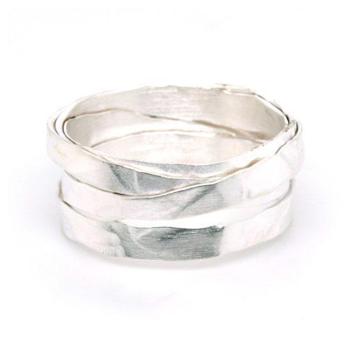 Wickelring Silber mit Struktur