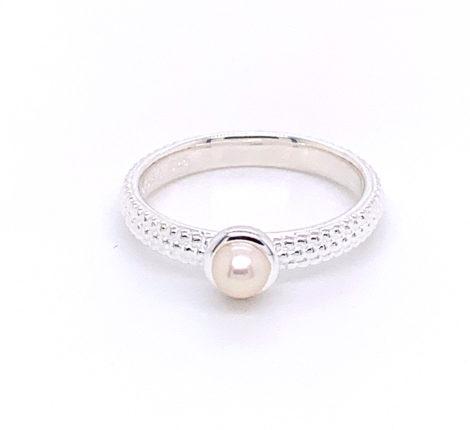 Ring Silber Dots mit Süßwasserperle