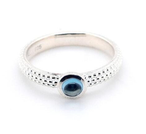 Ring Silber Kügelchen mit Aquamarin
