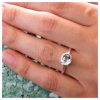 Ring Silber blauer Topas an der Hand