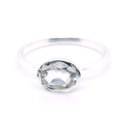 Ring Silber mit weißem Topas