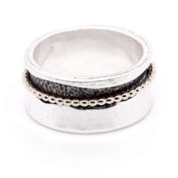 Ring Silber vergoldet und oxidiert