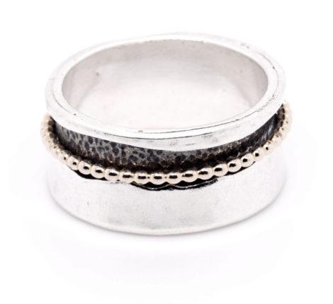 Ring Silber oxidiert mit vergoldeten Kügelchen