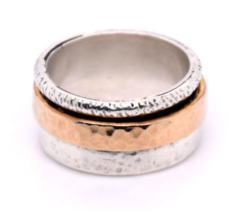 Ring Silber mit vergoldeten und oxidierten Elementen