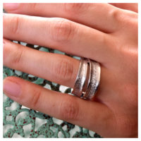 Ring Silber rhodiniert Zirkonia an der Hand