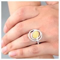Ring Silber Feingold an der Hand