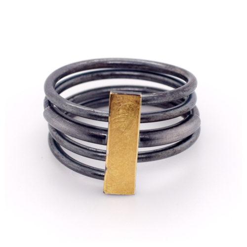 Ring oxidiert mit 900er Feingold