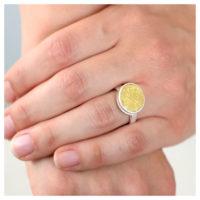 Ring Silber Feingold Scheibe an der Hand