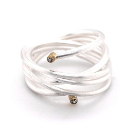 Ring Silber mit vergoldeten Elementen und Zirkoniasteinen