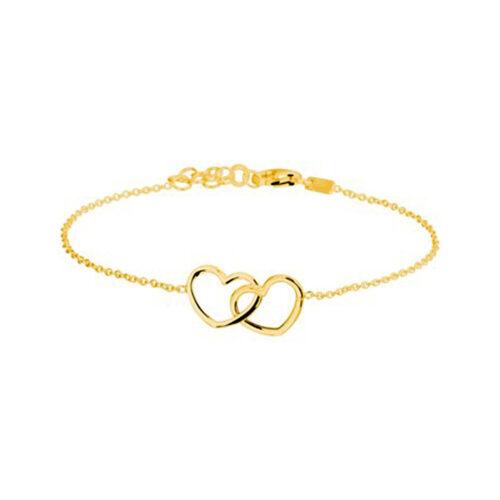 Armband vergoldet, 2 Herzen
