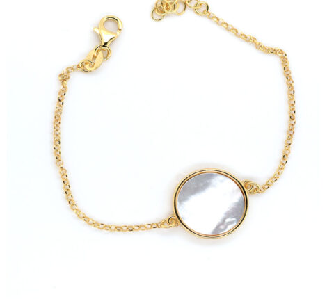 Armband Silber vergoldet, Perlmutt