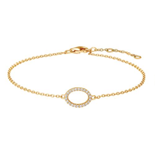 Armband vergoldet mit Oval aus Zirkonia