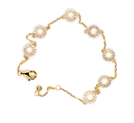 Armband vergoldet mit Kreisen aus Zirkoniasteinen