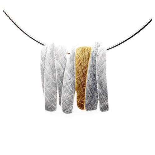 Collier Silber mit vergoldetem Element