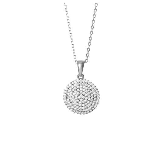 Kette Silber mit Scheibe aus Zirkoniasteinen