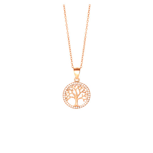 Kette rosévergoldet Lebensbaum mit Zirkonia