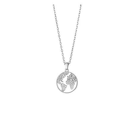 Weltkette Silber mit Zirkoniasteinen