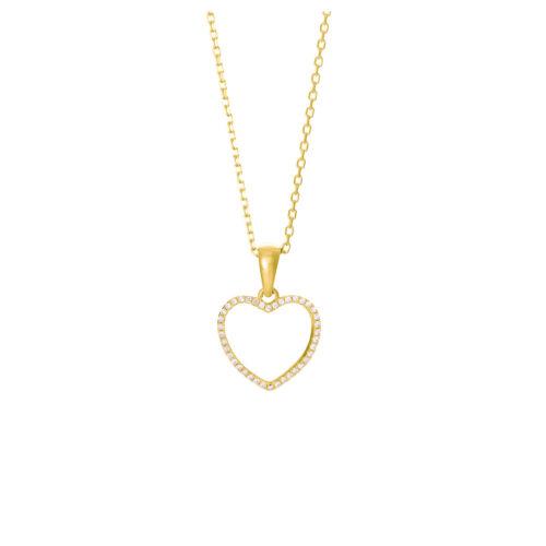 Kette vergoldet mit Herz aus Zirkoniasteinen