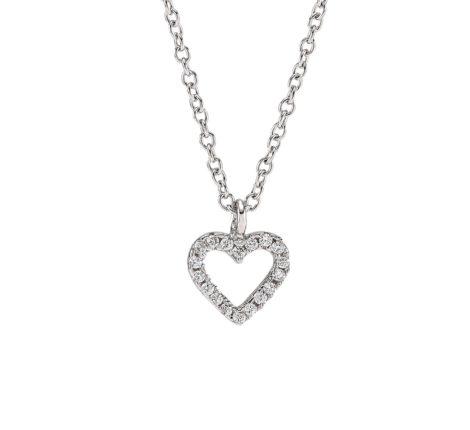 Kette Silber mit Herz aus Zirkoniasteinen