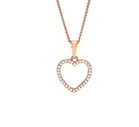 Kette rosévergoldet Herz aus Zirkoniasteinen