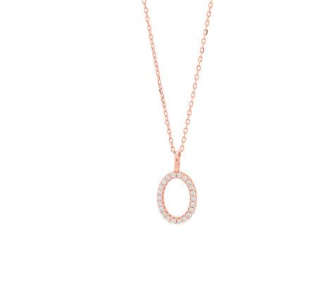 Kette rosévergoldet mit kleinem Oval aus Zirkoniasteinen