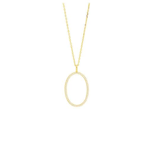 Kette vergoldet mit großem Oval aus Zirkoniasteinen