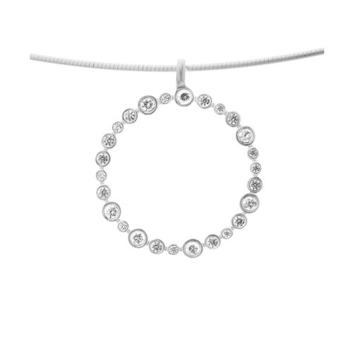 Kette Silber mit Kreis aus gefassten Zirkoniasteinen