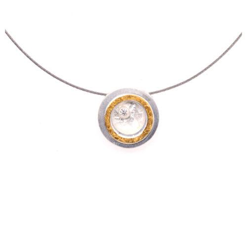 Collier Silber mit 900er Feingold und Brillant