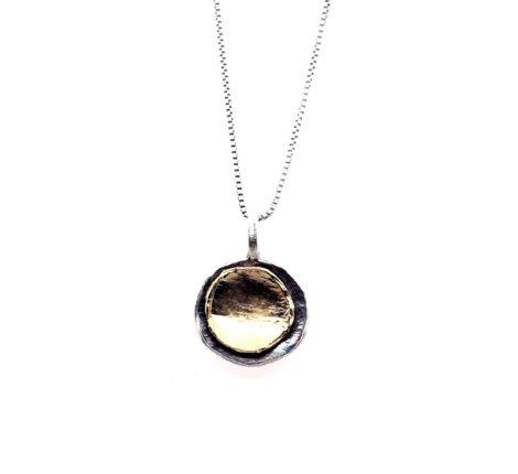 Kette Silber oxidiert und vergoldet
