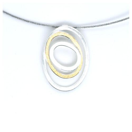 Collier silberne Kringel mit Feingold