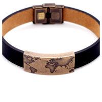 Armband Leder mit Weltmotiv