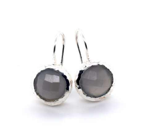 Ohrhänger Silber mit grauem Mondstein