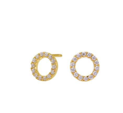 Ohrstecker vergoldet kleine Kreise mit Zirkoniasteinen