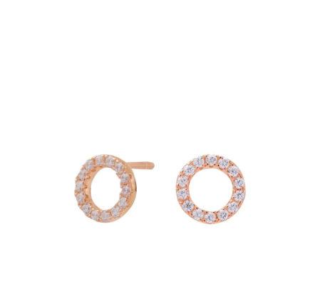 Ohrstecker rosévergoldet kleine Kreise mit Zirkoniasteinen