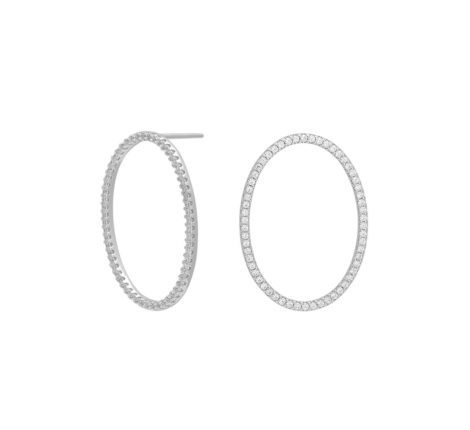 Ohrstecker Silber Ovale mit Zirkoniasteinen