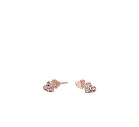 Ohrstecker rosévergoldet kleine Herzen mit Zirkonia