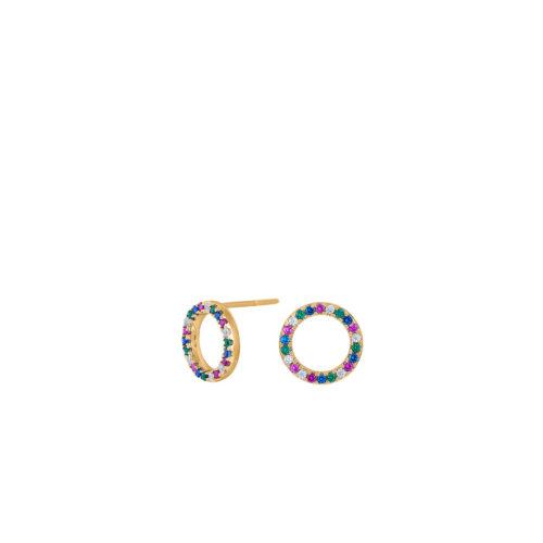 Ohrstecker vergoldet Kreise mit bunten Zirkoniasteinen