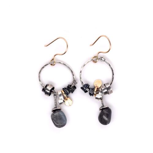 Ohrhänger Silber vergoldet und oxidiert mit Labradorit