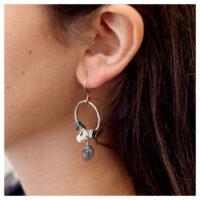 Ohrhänger Silber oxidiert vergoldet am Ohr