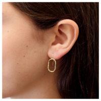 Ohrhänger Oval vergoldet am Ohr