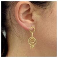 Ohrstecker vergoldet Kreise am Ohr