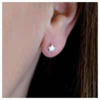 Ohrstecker Silber Sterne am Ohr