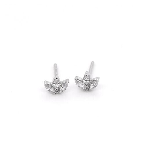 Ohrringe Silber, 3 navetteförmige Zirkonia