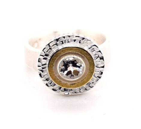 Ring Silber mit Feingold und weißem Topas
