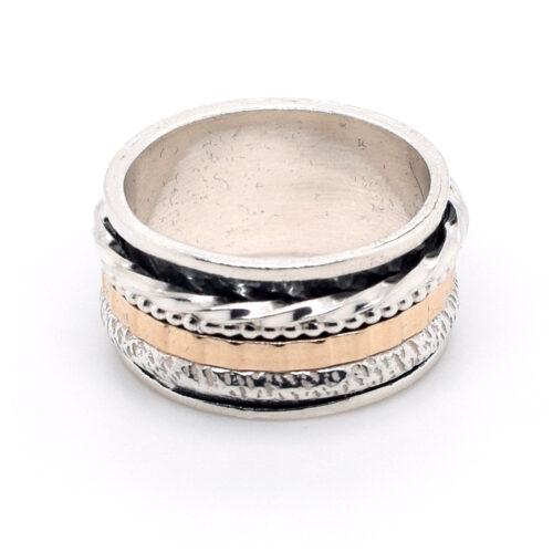 Ring Silber, oxidiert und Walzgold